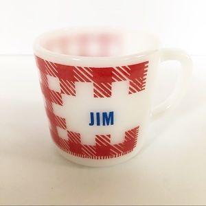 VTG White Milk Glass Red Plaid Name Coffee Mug JIM